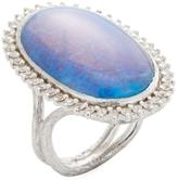 Elizabeth Showers Women's Silver, Quartz, Sapphire & Created Blue Opal Tree of Life Meg Ring