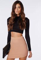 Missguided Ponte Curve Hem Mini Skirt Nude