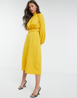 Closet London high neck belted midi dress with cuffed sleeve in mustard