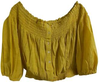 Free People Yellow Linen Tops
