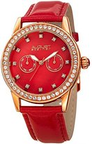 August Steiner Women's Quartz Stainless Steel and Leather Casual Watch, Color:Red (Model: AS8234RD)