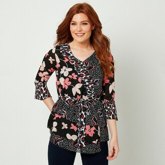 Joe Browns Printed Wrapover Blouse with 3/4 Length Sleeves