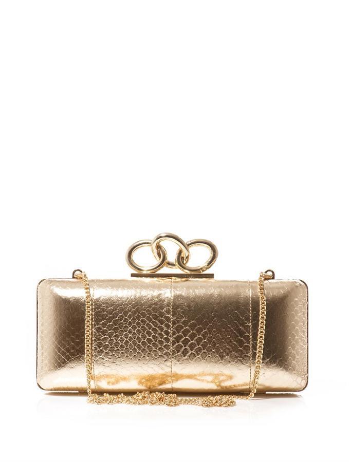 Diane von Furstenberg Sutra embossed-leather box clutch