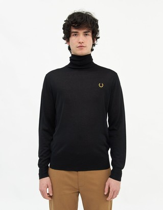 Fred Perry Rollneck Jumper in Black