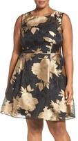 Ellen Tracy Plus Size Women's Metallic Floral Fit & Flare Dress