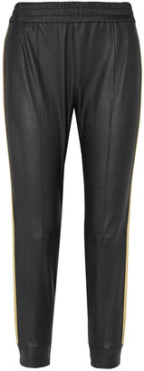 Sprwmn Cropped Metallic-trimmed Striped Stretch-leather Track Pants