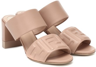 Fendi FF embossed leather sandals