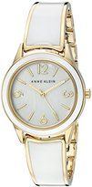 Anne Klein Women's AK/2330WTGB Gold-Tone and White Bangle Watch