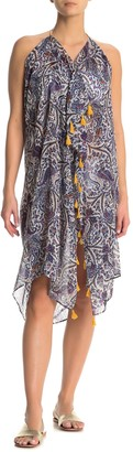 Pool To Party Printed Tassel Trim Cover-Up Dress
