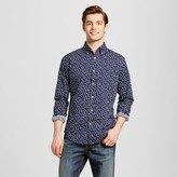 Merona Men's Printed Navy Long Sleeve Button Down Shirt