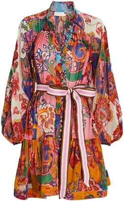 Zimmermann Lovestruck Tie-Waist Chiffon Mini Dress