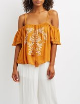 Charlotte Russe Embroidered Fringe Cold Shoulder Top
