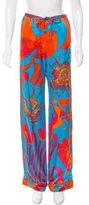 Roberto Cavalli Printed Silk Mid-Rise Pants w/ Tags