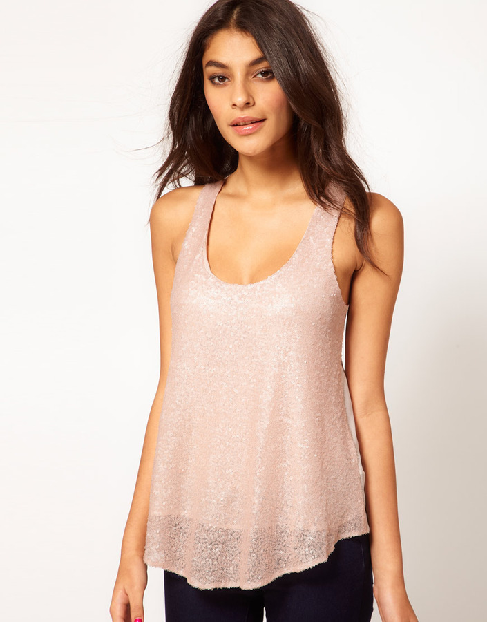 Asos Sequin Tank With Chiffon Back