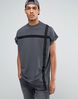 Asos Super Oversized T-shirt In Heavy Jersey With Taping In Washed Black
