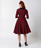Unique Vintage 1950s Burgundy & Black Dot Sleeved Eva Marie Swing Dress