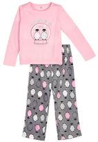 Petit Lem Holiday Two-Piece Penguin Printed Roundneck Tee & Pajama Pants Set