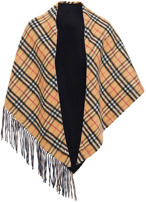 Burberry Fringed Checked Cashmere-felt Scarf