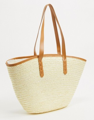 My Accessories London straw tote bag in natural with contrast faux leather handle