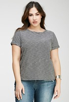 Forever 21 Cuffed-Sleeve Striped Tee