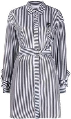 MSGM Belted Stripe Shirt Dress