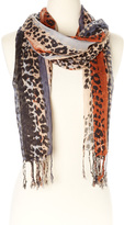 Big Buddha Charcoal & Rust Abstract Leopard Fringe Scarf