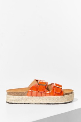 Nasty Gal Womens Step on Up Faux Leather Croc Sliders - Orange