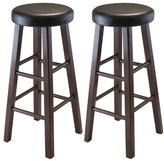 Winsome Wood Marta Assembled Round Bar Stool with PU Leather Cushion Seat and Square Legs, 29-Inch, Set of 2