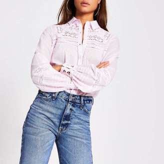 River Island Womens Pink long sleeve embroidered shirt