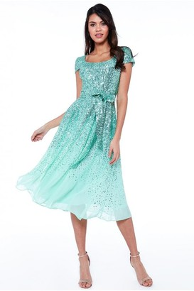 Goddiva Mint Sequin & Chiffon Belted Midi Dress