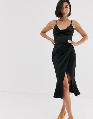 ASOS DESIGN cowl neck cami midi dress with pephem