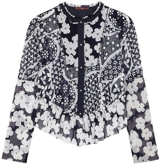 High Anywise Floral-print Tulle Jacket