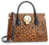 Celine Dion Leopard Print Genuine Calf Hair Octave Satchel