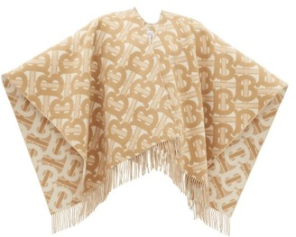 Burberry Tb-monogram Merino-blend Poncho - Womens - Cream Multi