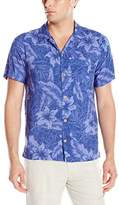 Caribbean Joe Men's Slim Fit Short Sleeve Button up Tonal Rayon Hawaiian Shirt