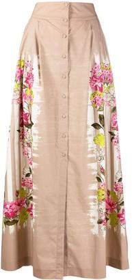 Alberta Ferretti Floral-Print Cotton Maxi Skirt