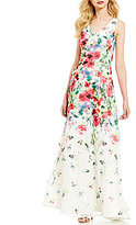 David Meister V-Neck Printed Chiffon Floral Sheath Gown