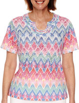 Alfred Dunner Tropical Punch Short-Sleeve Zigzag Burnout Tee - Petite