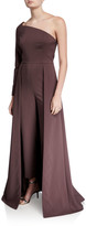 Kay Unger New York Rebecca One-Shoulder Crepe Jumpsuit with Skirt Overlay