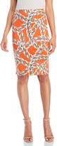 Samantha Sung Orange Chain Print Pencil Skirt