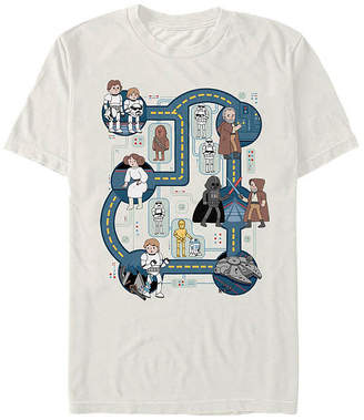 Fifth Sun Death Star Map Mens Crew Neck Short Sleeve Star Wars Graphic T-Shirt