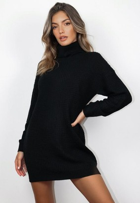 Missguided Black Turtle Neck Knit Sweater Dress
