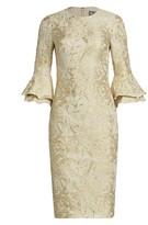 Theia Metallic Ruffle Sheath Dress