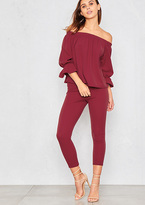 Missy Empire Aisha Wine Off The Shoulder With Ruffle Co-Ord