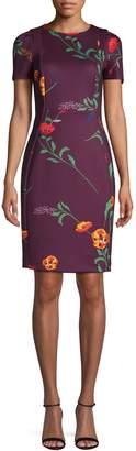 Calvin Klein Floral-Print Puff-Sleeve Sheath Dress