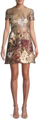 Valentino Floral Short-Sleeve Fit-&-Flare Dress