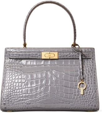 Tory Burch Lee Radziwill Croc Embossed Small Leather Satchel