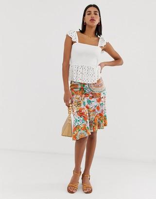 Pieces mix print mini slip skirt-Orange