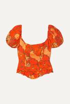 De La Vali Koko Ruffled Floral-print Satin Top