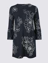 Marks and Spencer Floral Print Flute Sleeve Round Neck Tunic